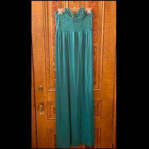 Juicy Couture Teal Crochet Halter Maxi Dress Sz M